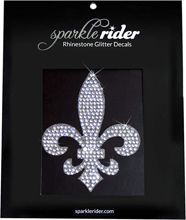 Sparkle Rider Fleur-de-lis Rhinestone Decal Stickers - Unique Girly Accessory Gift for Her - Women's Waterproof Bling Decor for Car Motorcycle Helmet Wall Window