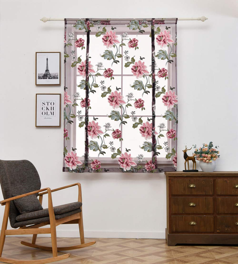 Quaanti Clearance Sale!Rod Pocket Floral Semi Sheer Curtain Floral Embroidered Curtains Window Roman Curtain Floral Sheer Voile Valances for Bedroom&Living Room&Bathroom (L/32x47in) (L/31.5x47in)