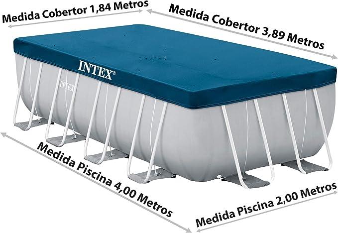 Intex Prisma Frame 28037 - Cobertor piscina rectangular, 389 x 184 ...