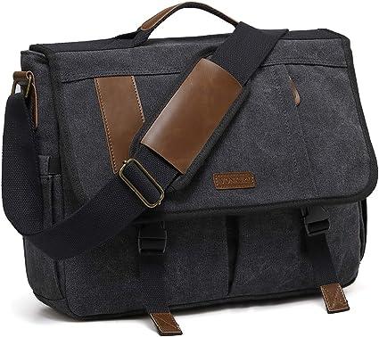 S-ZONE Messenger Bag Sacoche en Cuir pour Homme Sacoche pour Ordinateur Portable de 14 Pouces