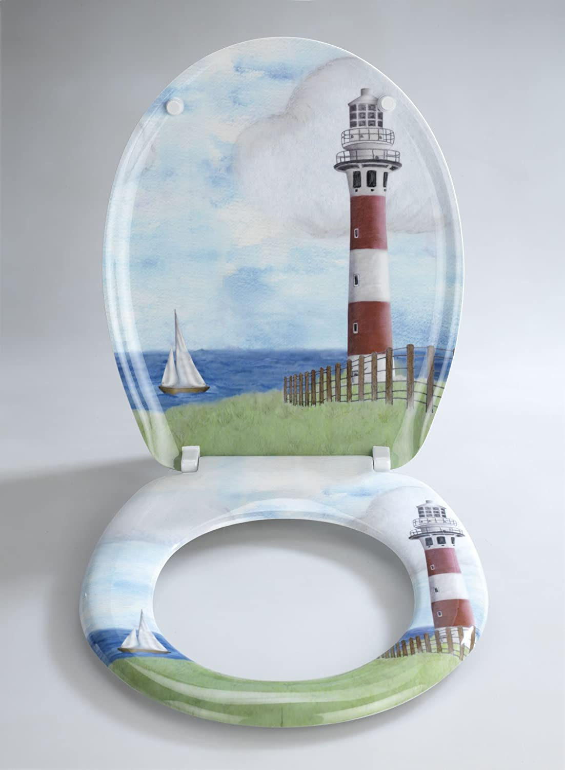 Amazon.com Wenko 18904100 Thermoset Plastic Toilet Seat Lighthouse by Wenko Kitchen u0026 Dining : lighthouse dinnerware - Pezcame.Com