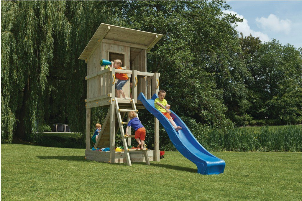 Spielturm Beach Hut - Blue Rabbit 2.0 - Podesthöhe 120cm mit Rutsche 240 cm Pfosten 9x9cm
