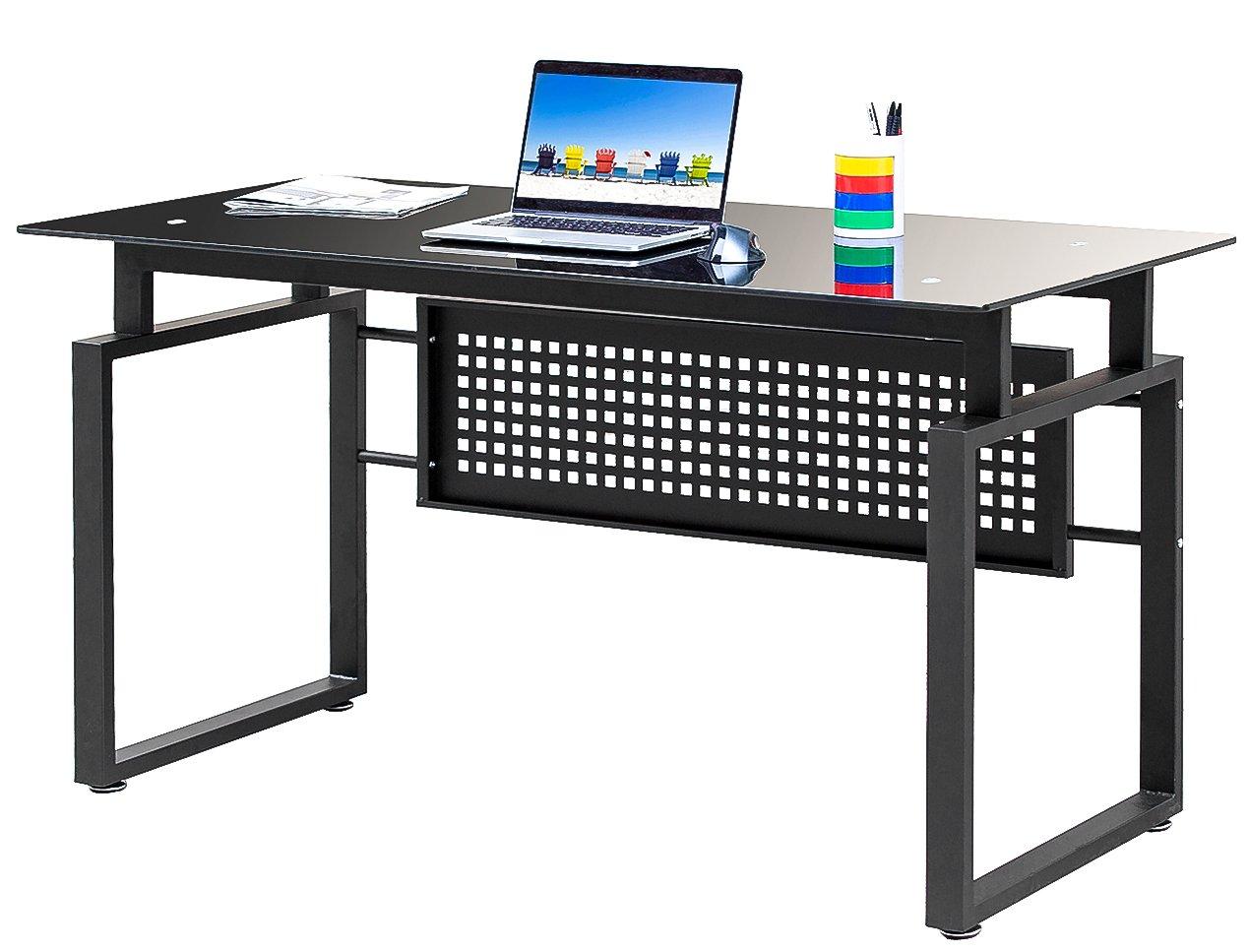 Merax mesa para ordenador de cristal con metal patas Pc del ...