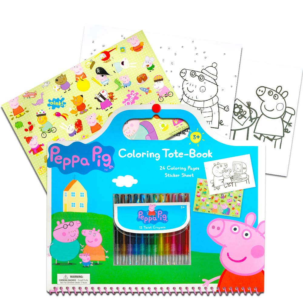Amazon Peppa Pig Giant Coloring Book Tote Set With Stickers And Twist Crayons Includes Bonus Sheet Of Zoo Animal Toys Games