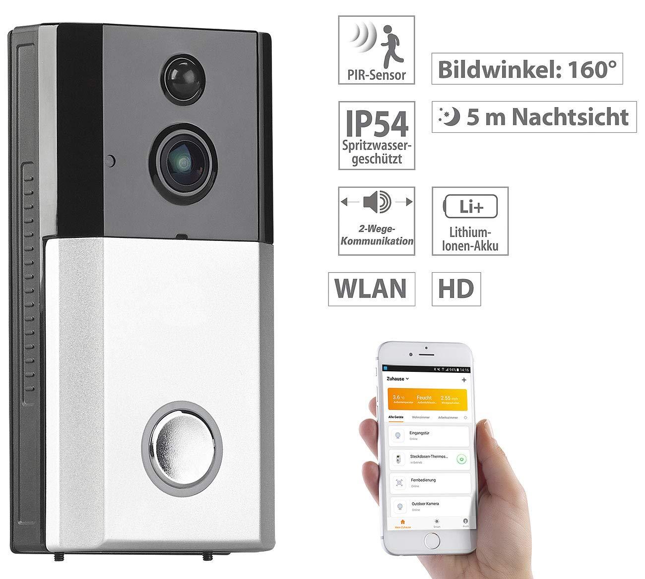 156°-Bildwinkel Akku Türspion: HD-Video-Funk-Türklingel mit App Gegensprechen