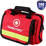 200 Pieces First Aid Kit for Car, Home, Traveling, Camping, Office or Sports, Red Bag with Reflective Stripe