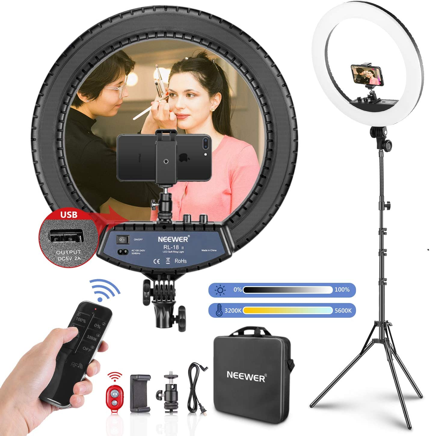 Neewer 18-inch LED Ring Light with Stand