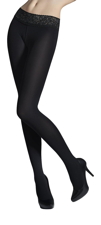 Womens Fashion Low Waist Microfiber Tights Silicone Lace Waistband 50 Denier Vita Bassa 50
