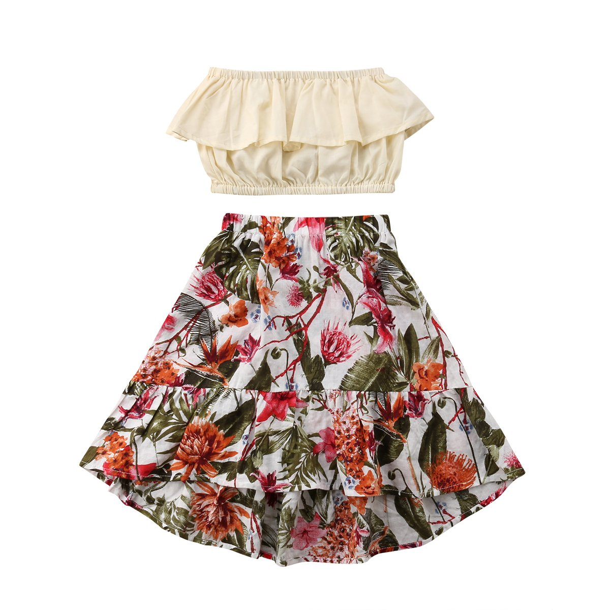 d7e678318f Material: Linen(Top)+Cotton Blend(Skirt) Ruffle crop top and irregular long  skirt set, fit for kids toddler baby girl 1-7 Years Trendy outfit set make  your ...