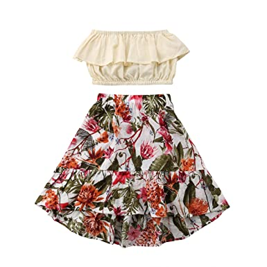 6292451e3119 2Pcs Kids Baby Toddler Girl Sunflower Outfits Off Shoulder Crop Tops + Skirt  Clothes Set (