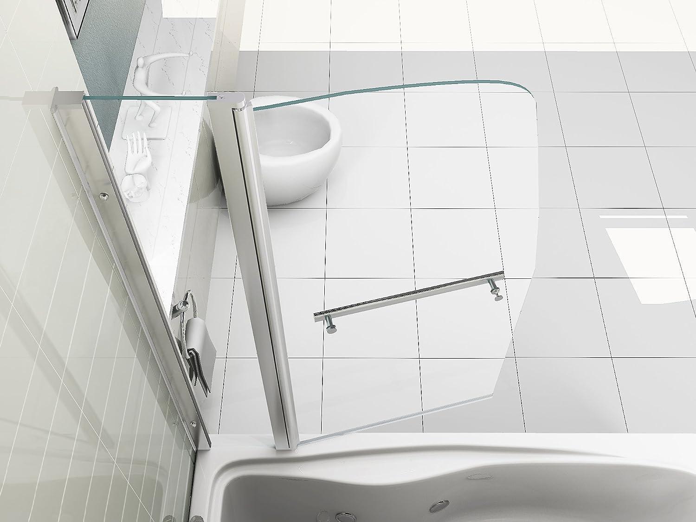 f/ür die Badewanne 6/mm Dickes Glas mit Handtuchhalter HNNHOME 180/°-schwenkbare Doppel-Duschwand