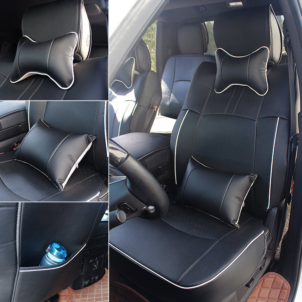 Fly5D PU Leather Car Seat Covers Front Rear Seat Cushion Cover Full Sets Apply for 2009-2017 Dodge RAM 1500 2500 3500 (Black) by Fly5D (Image #1)