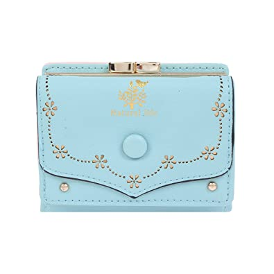 9f2c858dc3ac Amazon   (ダマラ) Damara レディーズ 財布 ミニ財布 手のひらサイズ 二つ折り財布 小銭入れ財布 コインケース 無地 型押し がま口  シンプル ライトブルー   財布