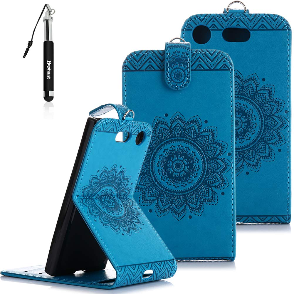 Sony Xperia XZ1 Compact Hü lle, Sony Xperia XZ1 Compact Handy Hü lle Leder Tasche Huphant Schutzhü lle Wallet Case Sony Xperia XZ1 Compact Handytasche Stand Kartenfä cher Magnet Flip Case -Rose rot