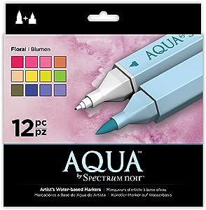 Spectrum Noir Aqua Artist's Water Based Dual Nib Marker Coloring Pens, Floral, Pack of 12
