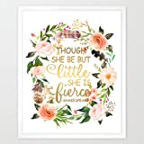 Eleville 8X10 Though she be but little she is fierce Real Gold Foil and Floral Watercolor Art Print (Unframed) Home Decor kids wall art Motivational Poster Holiday Gifts Shakespeare Quote WG014