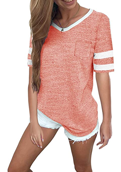 faaf1a17ee36 Aolakeke Womens Summer Tops Casual Cotton V Neck Sport T Shirt Short Sleeve  Blouses with Stripe at Amazon Women s Clothing store