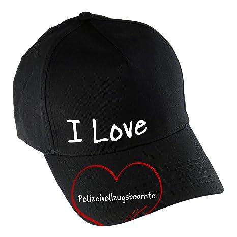 Gorra de béisbol modern I Love agente de la Policía negro: Amazon ...