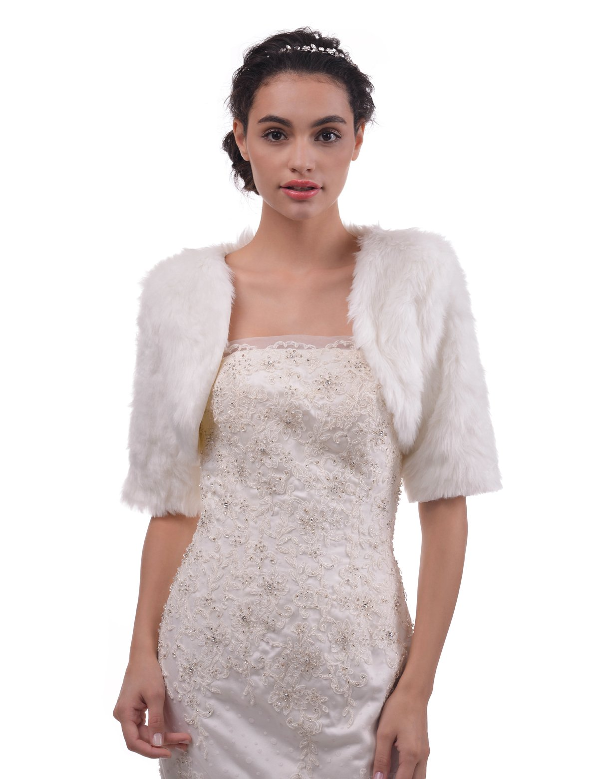 Topwedding Remedios Ivory Faux Fur Bridal Wrap Wedding Bolero Jacket Shrug With 3/4 Sleeves, L
