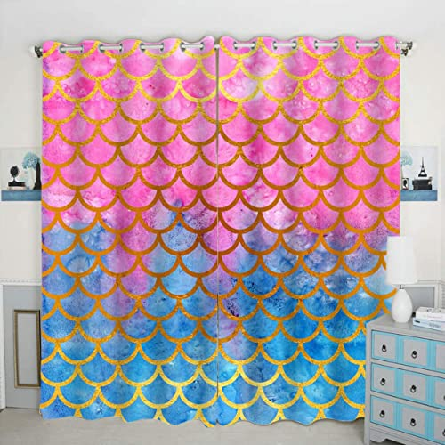 QH Pink Blue Mermaid Scale Window Curtain Panels Blackout Curtain Panels Thermal Insulated Light Blocking 42W x 84L inch Set of 2 Panel