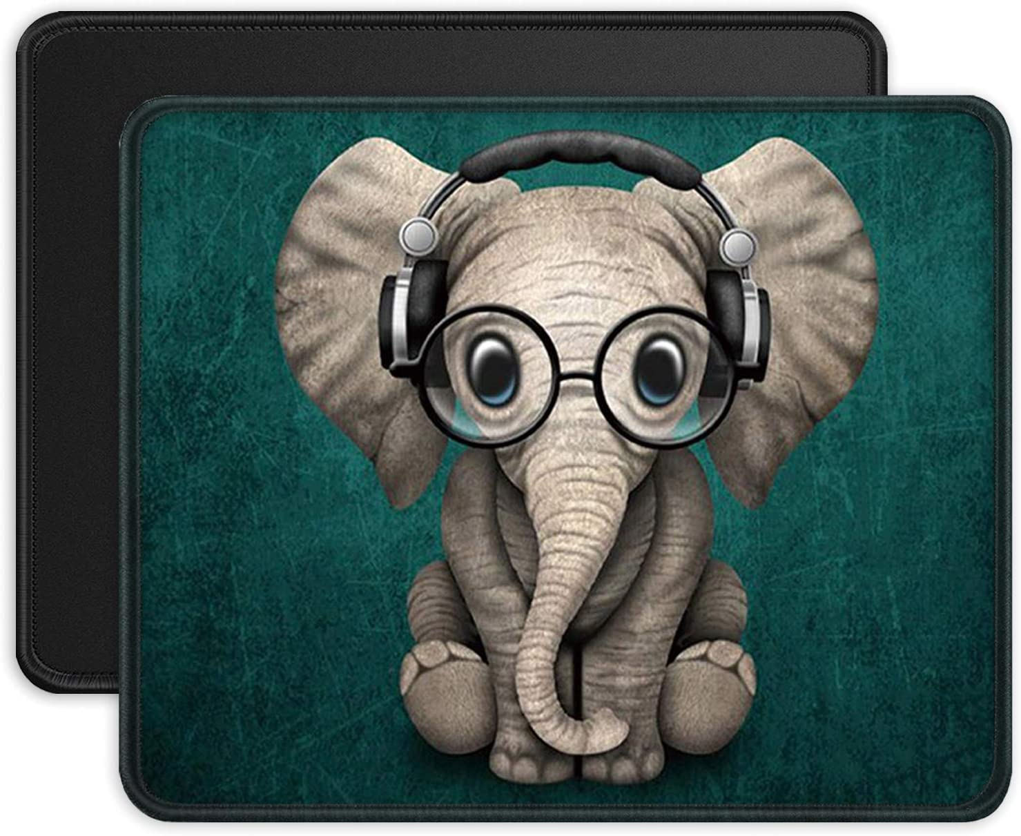 ITNRSIIET Mouse Pads [2-Pack] with Stitched Edges, Premium-Textured Mouse Mat Pad, Non-Slip Rubber Base Mousepad for Laptop, Computer, 10.2×8.3×0.12 inches, Cute Elephant + Black