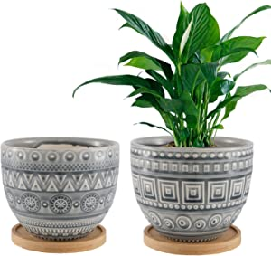 Retro Gray Succulent Planters Indoor Ceramic Geometry Pattern Flower Pots Set of 2 with Bamboo Tray
