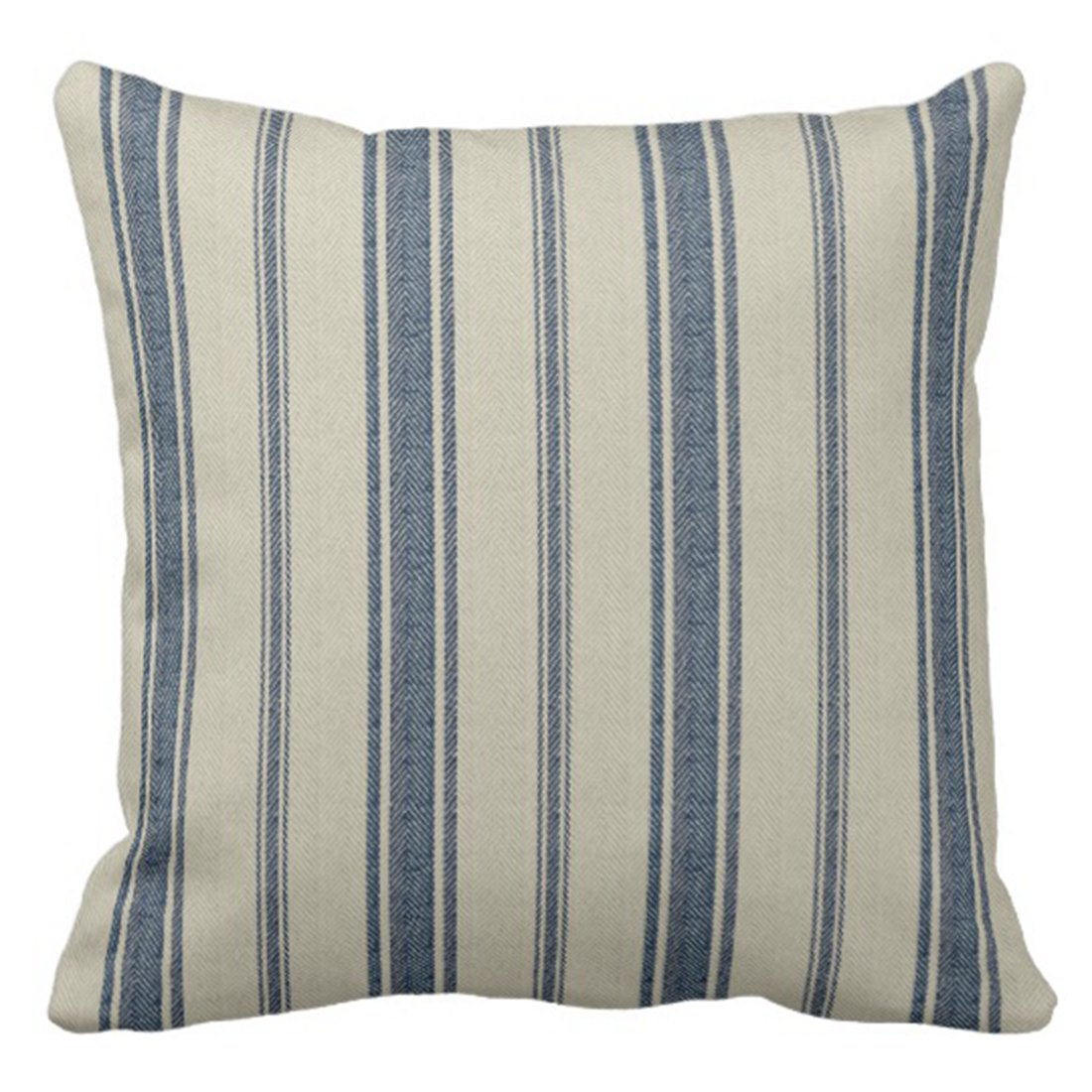 Blue French Stripe Pillow Cover