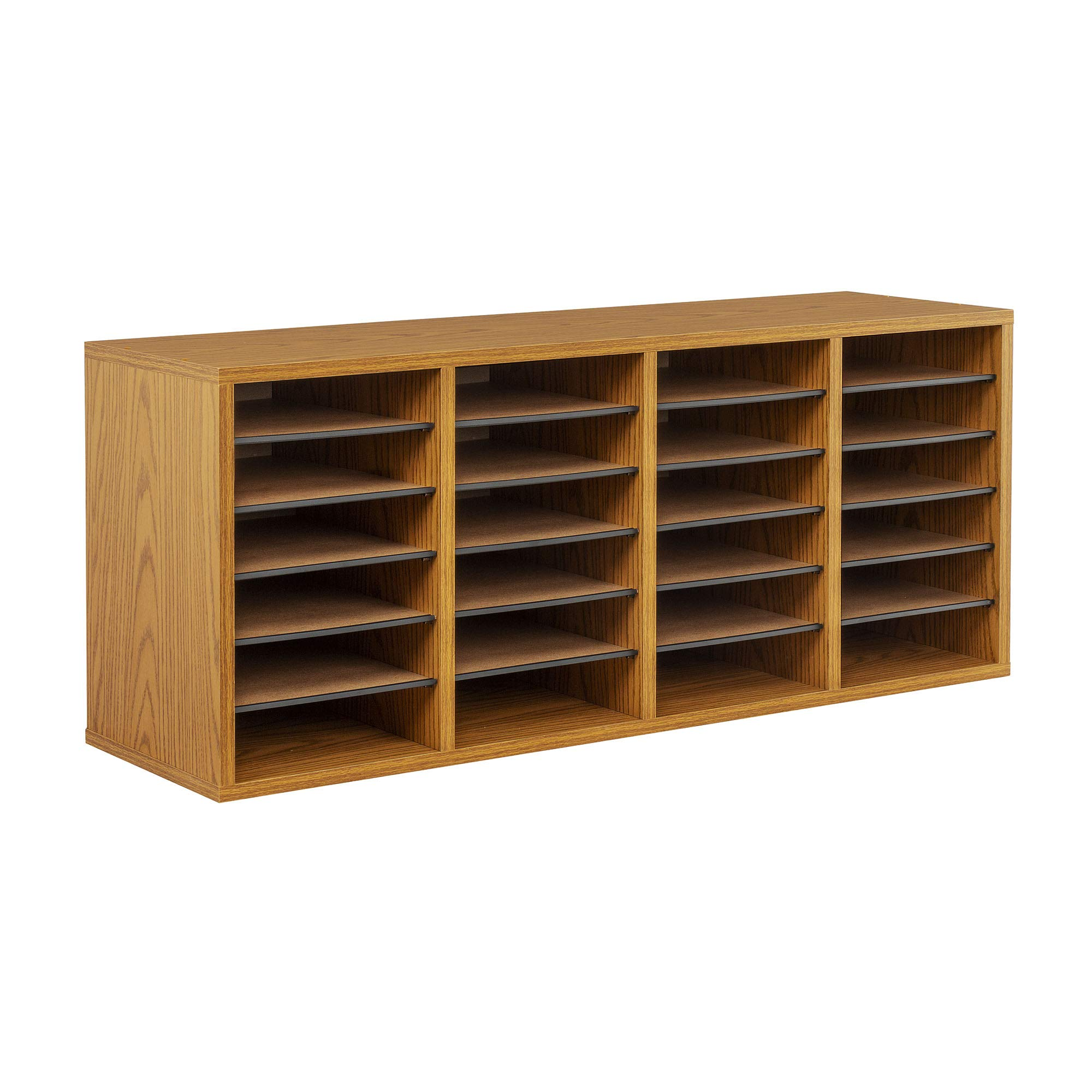 Safco Products Wood Adjustable Literature Organizer, 24 Compartment, 9423MO, Medium Oak, Durable Construction, Removable Shelves, Stackable by Safco Products
