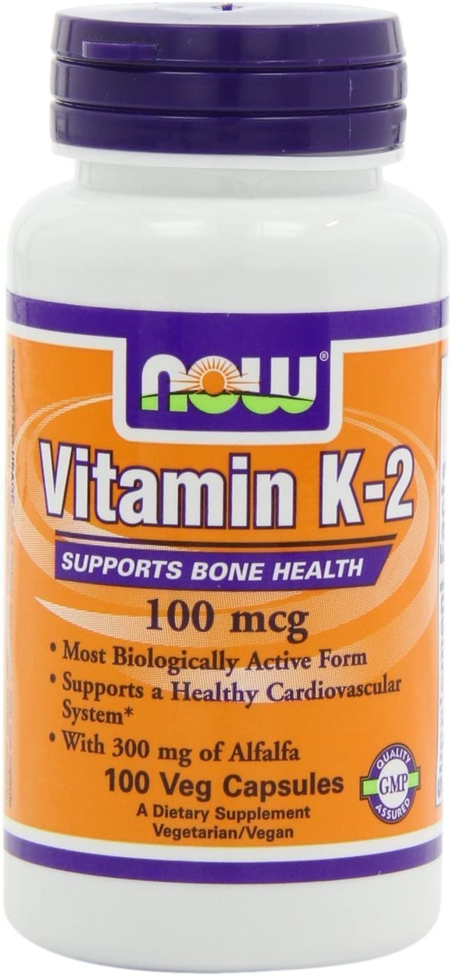 NOW Foods Vitamin K-2,100mcg, 100 Vcaps , Pack of 4