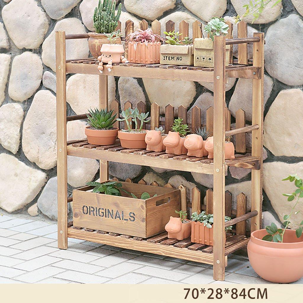 RFJJAL Stand Fiore di bambù, Tipo Salotto Pavimento Multi-Layer Spazio Balcone Pieghevole Fiore Stand (Dimensioni   70  28  84cm)