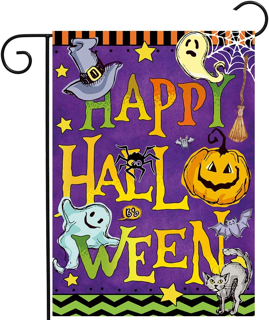 Allenjoy Happy Halloween Purple Garden Flag for Outside Mailbox Vertical Night Ghost Pumpkin Farmhouse Yard Sign Customizable Patio Outdoor Decorations 12x18 Double Sided Washable Polyester UV-Resist