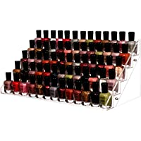 Cq acrylic 72 Bottles of 5 Layers Nail Polish Rack-Clear Nail Polish Display,Just Stand on The Table or Desk,16.4x7.8x7…