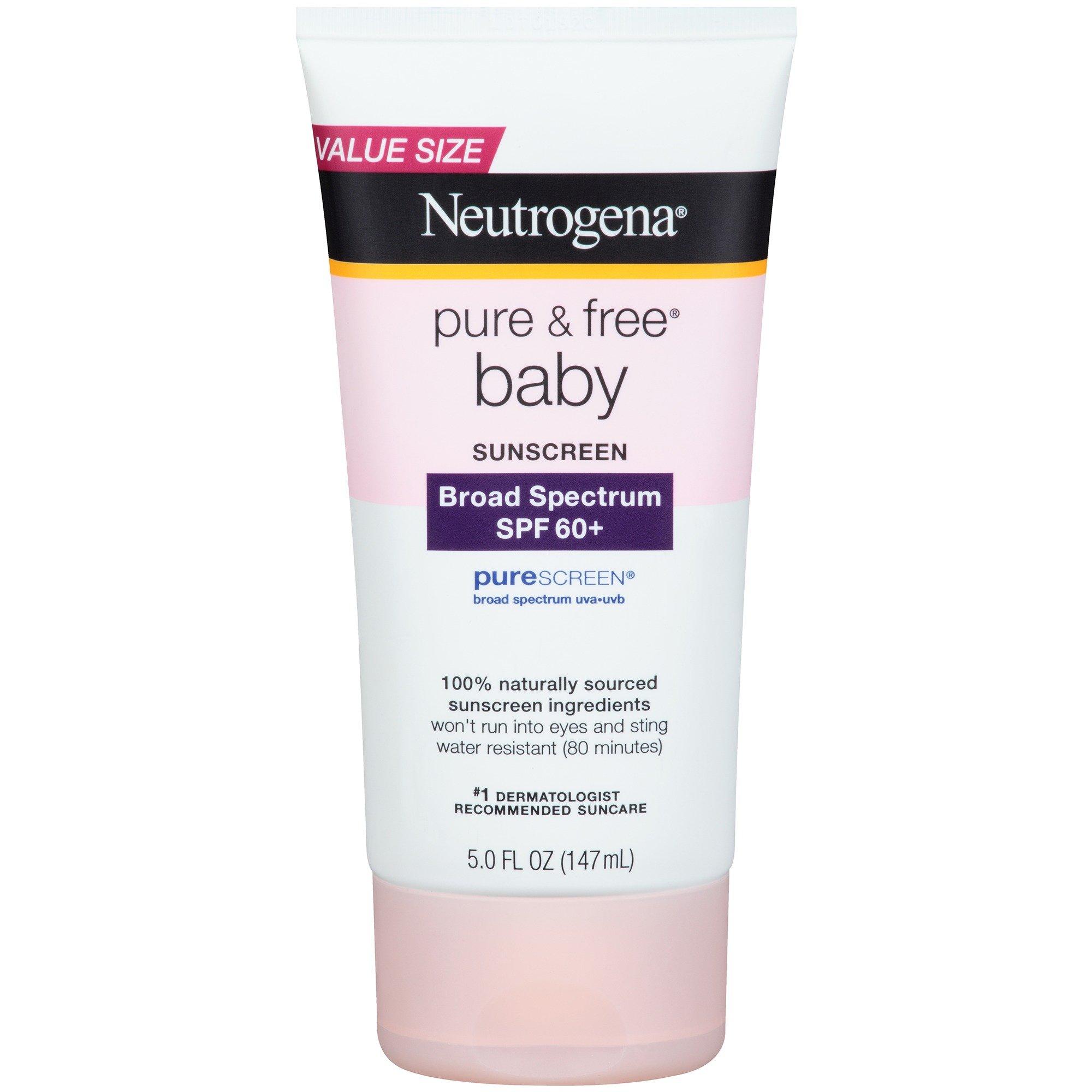 Neutrogena Pure & Free Baby Sunscreen Lotion Broad Spectrum SPF 60+, 5 Fl. Oz by Neutrogena (Image #1)
