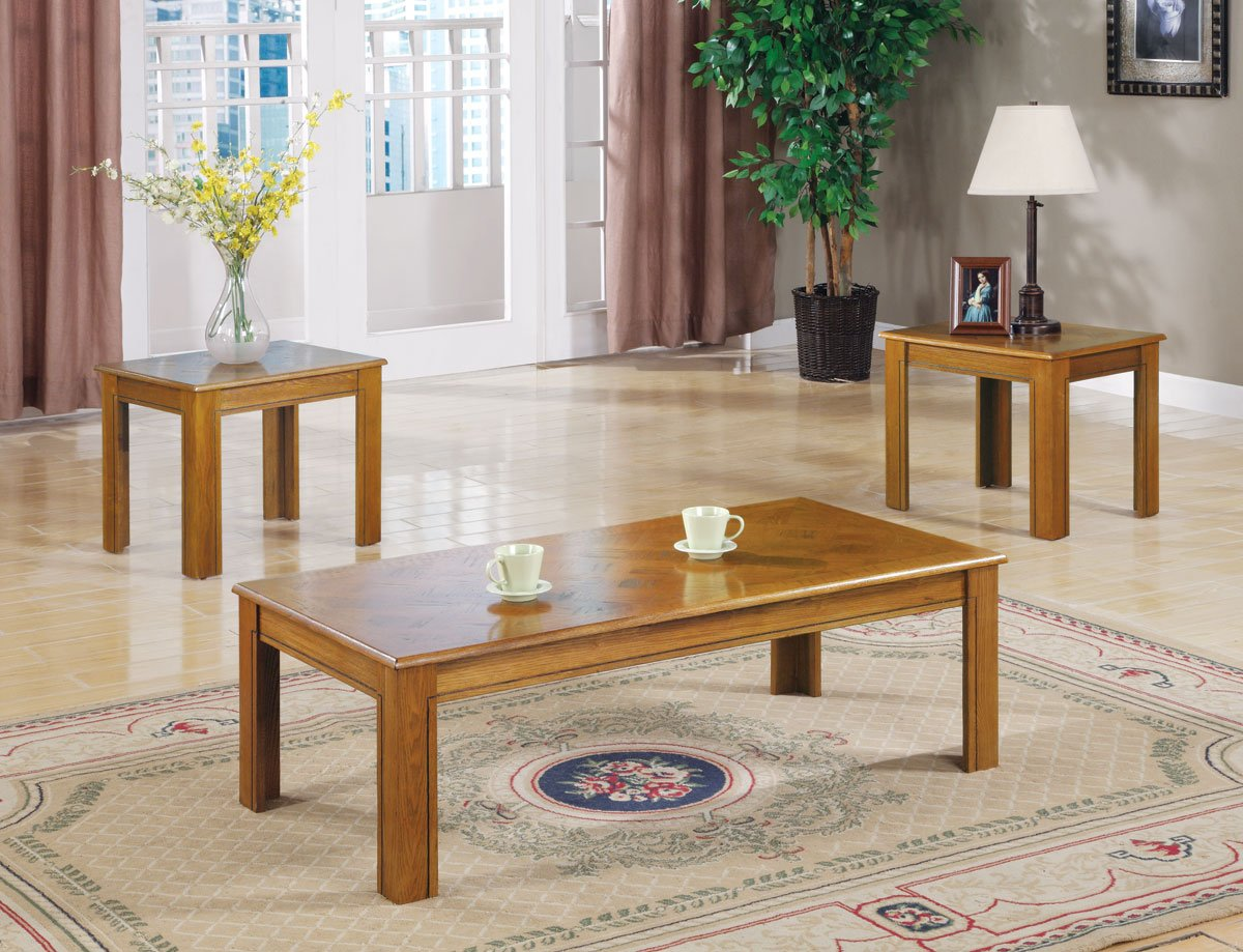 Inland Empire Furniture Mindel Oak Parquet Top 3 Piece Coffee and End Table Set