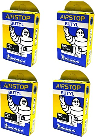 2 Two Michelin Airstop Butyl Road Bicycle Tubes 700x18-23-25 52mm Presta 700c