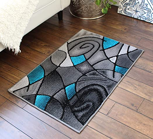 Masada Rugs, Modern Contemporary Area Rug, Turquoise Grey Black 2 Feet X 3 Feet Mat