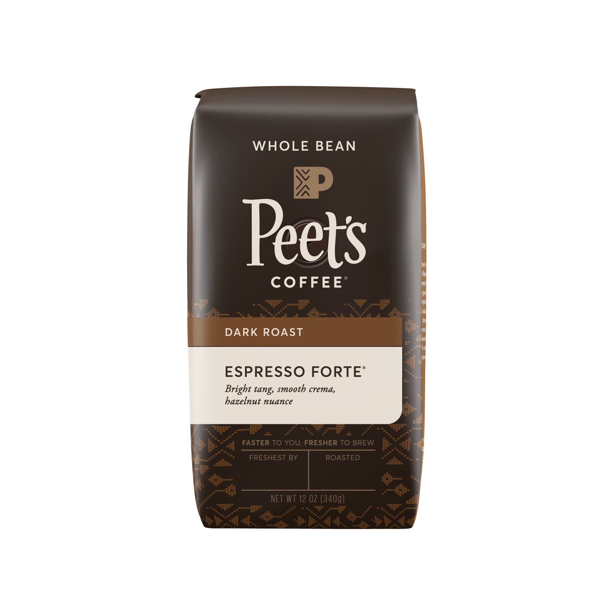 Peet's Coffee, Espresso Forte Dark Roast, Whole Coffee Bean, 12 oz. Bag, Robust, Rounded Body, a Balanced Stout and Bright Blend Specific for Espresso, with Rich Flavor and Crema