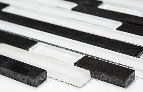 Mosaico piastrelle vetro crystal pietra mix bianco nero stratificato