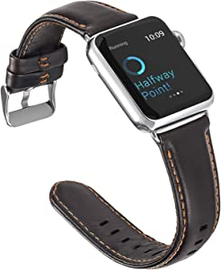 ALADRS Leather Bands Compatible with Apple Watch Band 44mm 42mm, Watch Strap Replacement for iWatch Series 6 5 4, SE (44mm) Series 3 2 1 (42mm), Coffee