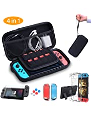 HEYSTOP Nintendo Switch Accesorio, Nintendo Switch Funda + Funda de Transporte para Nintendo Switch + Nintendo Switch Protector de Pantalla + Apretones de Pulgar