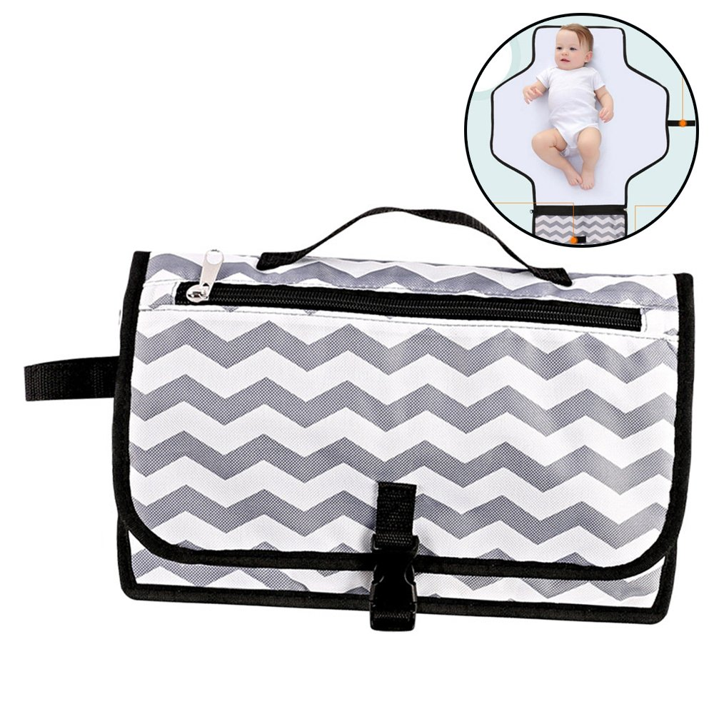 Diaper Changing Pad,Portable Baby Diaper Changing Clutch Waterproof Foldable Changing Station Changing Mat Kit and Wipes Case for Traveling and Outdoors, Toddlers Infants and Newborns CGBOOM