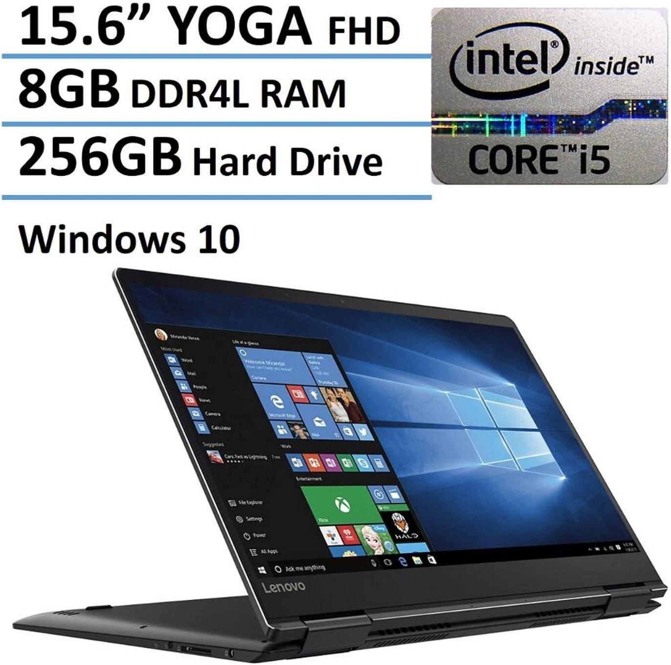 "Lenovo Yoga 710-15 - 15.6"" FHD Touch-Screen - 7th Gen Core i5-7200U - 8GB Ram - 256GB SSD - Black"