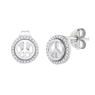 b39ce016d1a77 Amazon.com: 1/10 CTTW Diamond (IJ/I2I3) Peace Sign Stud Earring Set ...