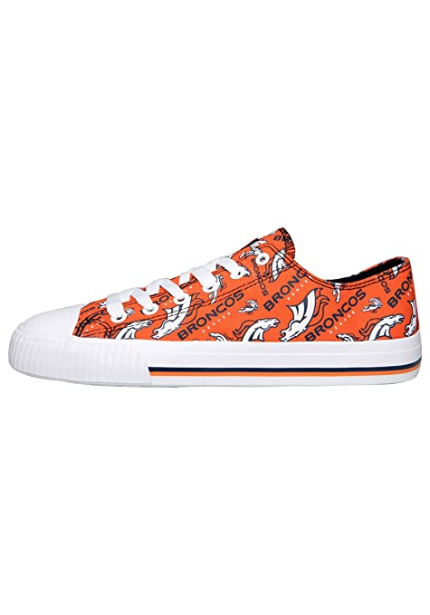 d1bc67140e5a9b Amazon.com   Denver Broncos NFL Repeat Print Canvas Shoe - Womens Low Top -  Size 6   Sports   Outdoors