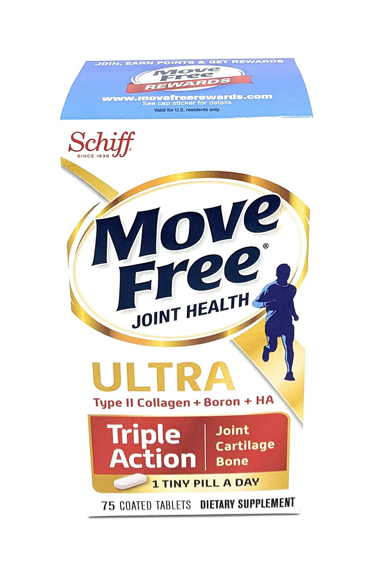 Move Free Ultra Triple Action Joint Supplement with Type II Collagen, Hyaluronic Acid, and Boron for Joint, Cartilage, and Bone Support, 1 Pack, 75 Count