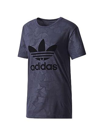 81a92a038a18 adidas Originals T-Shirt Boyfriend Trefoil Bleu Marine Femme  Amazon ...