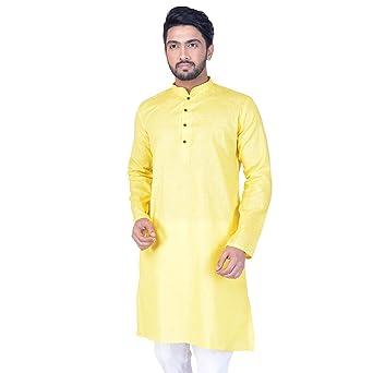 Mahir Mens Self Design Cotton Linen Blend Straight Kurta