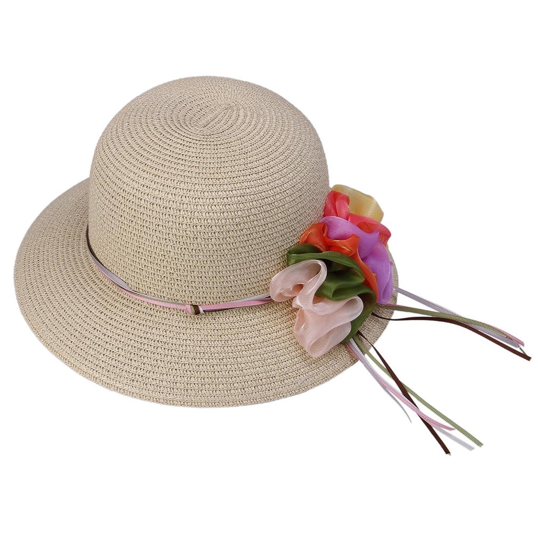 Smile YKK Women's Floppy Foldable Derby Hat Wide Brim Straw Sun Flower