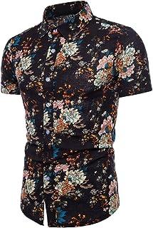 Chemises Homme Chemises Hawaiennes Homme Chemises BoutonnéEs Grande Taille Hommes Été Bohe Floral Manches Courtes Lin T-Shirt Basique Blouse HCFKJ - MS