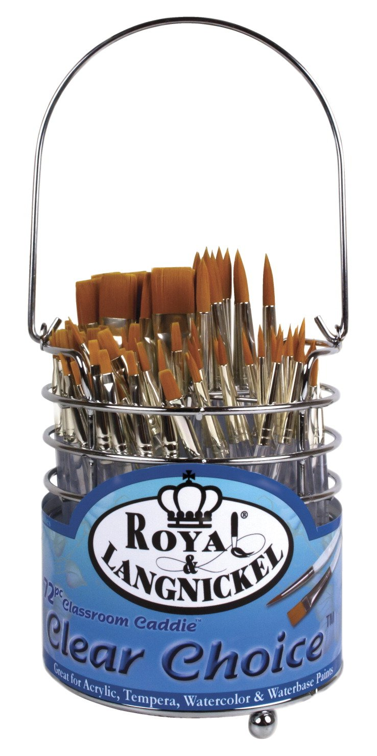 Royal Brush Clear Choice Classroom Caddies Brush Set, Assorted Size, Set of 72 Brushes and 1 Caddy